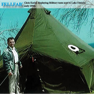 Chris Karlos displaying Military tents next to Lake Ontario - early 1990s